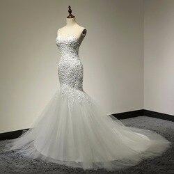 Sweetheart Beaded Mermaid Wedding Dress 2018 Real Pictures Lace Wedding Dress Tulle Bridal Wedding Gown Vestido De Noiva SL-W58 3