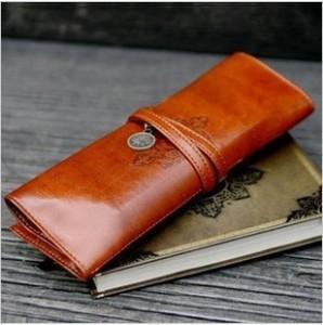 2002 korea stationery vintage leather big capacity pencil case cosmetic bag