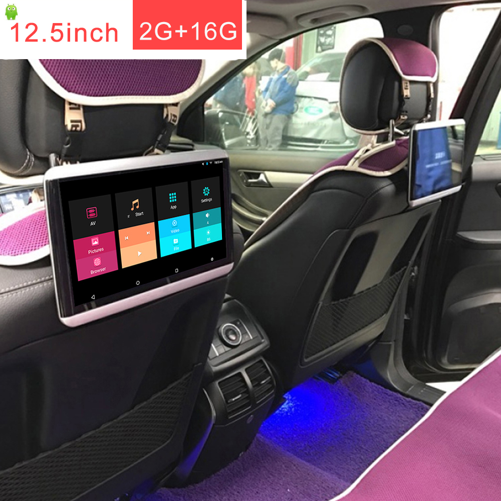 12,5 pulgadas 1920*1080 pantalla táctil 2 GB 16 GB coche android 6,0 reposacabezas monitor 1 piezas con bluetooth salida RCA/salida HDMI