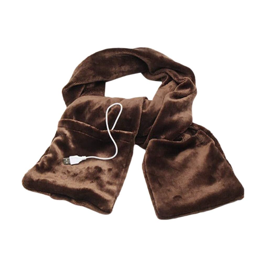Usb теплый шарф, мягкая теплая шаль с карманами, унисекс, зимняя теплая накидка для шеи, для улицы, для подледной рыбалки, альпинизма, пешего туризма, велоспорта - Цвет: Brown