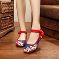 Denim mary jane beautiful embroidered shoes women flowers Chinese retro flats women shoes simple ladies flats shoes zapatillas
