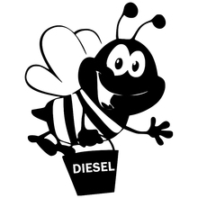 CS-1112#10*13cm Bee with Diesel funny car sticker vinyl decal silver/black for auto stickers styling