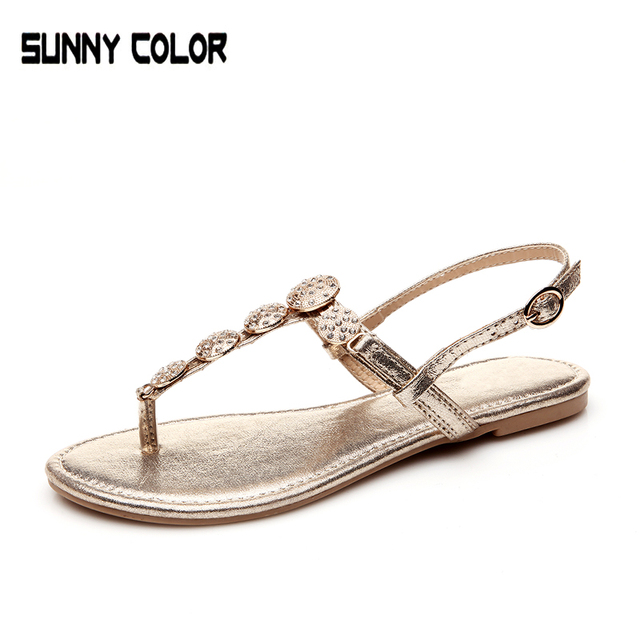 16785a181ce1 Summer Sandals Bling Rhinestone Flats Women Platform Wedges Sandals Fashion Flip  Flops Comfortable Shoes Woman sunny color