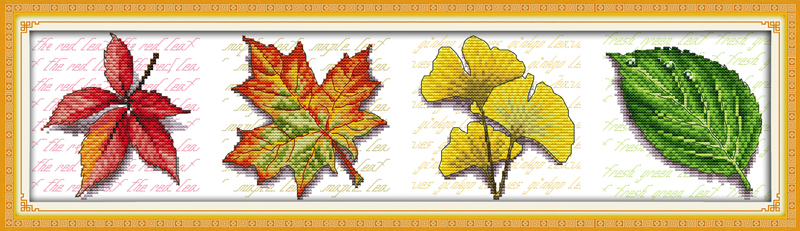 Leaves (view picture)DMC cross stitch kits set 14ct white 11ct print on canvas embroidery set sewing hand made crafts home decor image