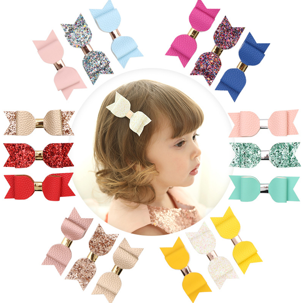 3pcs Bowknot Shape Party Kids Accessories Fashion Glitter Styling Tools DIY Cute Artificial Leather Decoration Gift Hair Clip