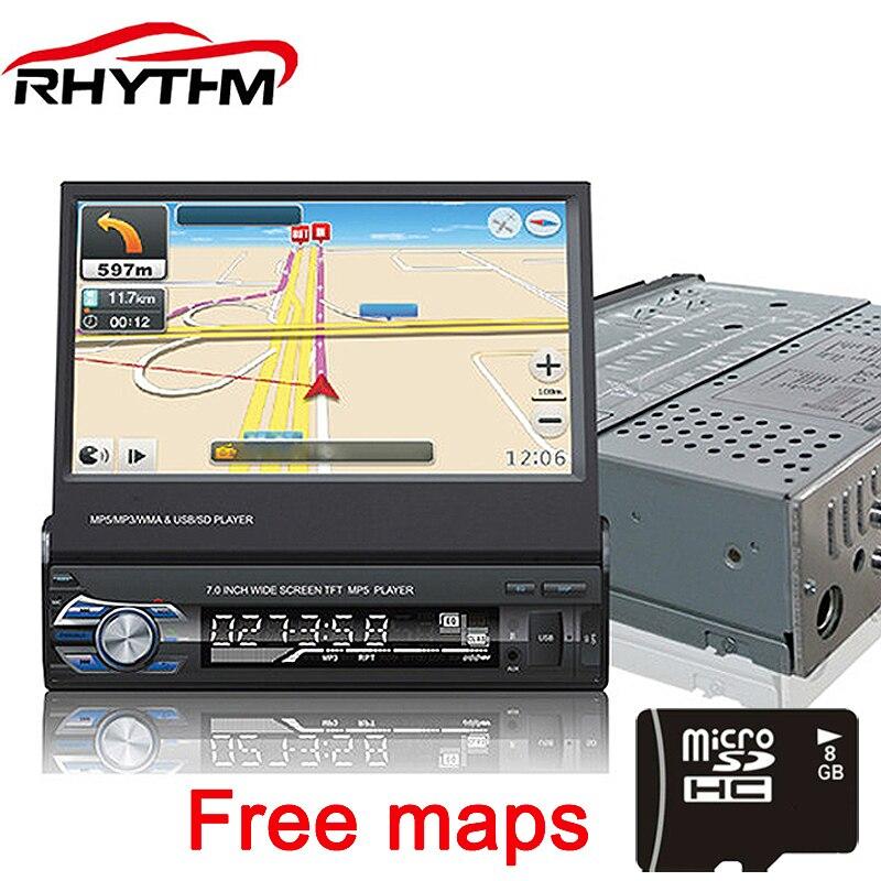 Voiture Stéréo 12 v Rétractable Universel 7 pouce Écran Tactile Autoradio Bluetooth FM MP4 MP5 Lecteur Téléphone USB/TF radio En-Dash 1 DIN