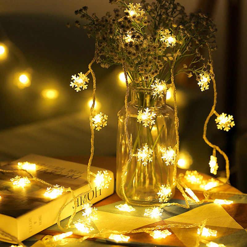Led guirlanda férias flocos de neve cordas luzes de fadas alimentado por bateria pendurado ornamentos festa árvore de natal decoração da sua casa