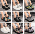 Free shipping 2016 Fashion Black Suede British Goth Punk Creepers Flats Hot Sale Lace up Skull American USA Flag Boat Shoes