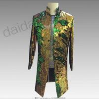 S 5XL New men's flip suits dress Sequin costumes stand collar Blazers long coat Bar nightclub DJ stage host singer clothing