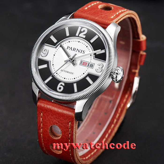 42mm Parnis white black dial Sapphire Glass miyota 8215 Automatic mens Watch 423 42mm parnis white black dial sapphire glass miyota 8215 automatic mens watch 423