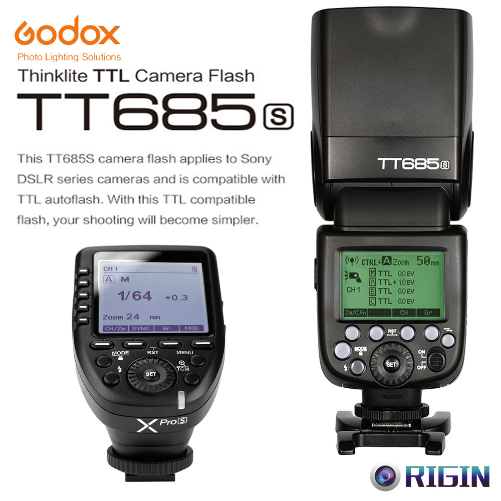 Godox TTL TT685S Camera Flash 2.4G wireless HSS 1/8000s GN60+Xpro-S Transmitter Kit For Sony a77II, a7RII, a7R, a58, a99,etcGodox TTL TT685S Camera Flash 2.4G wireless HSS 1/8000s GN60+Xpro-S Transmitter Kit For Sony a77II, a7RII, a7R, a58, a99,etc