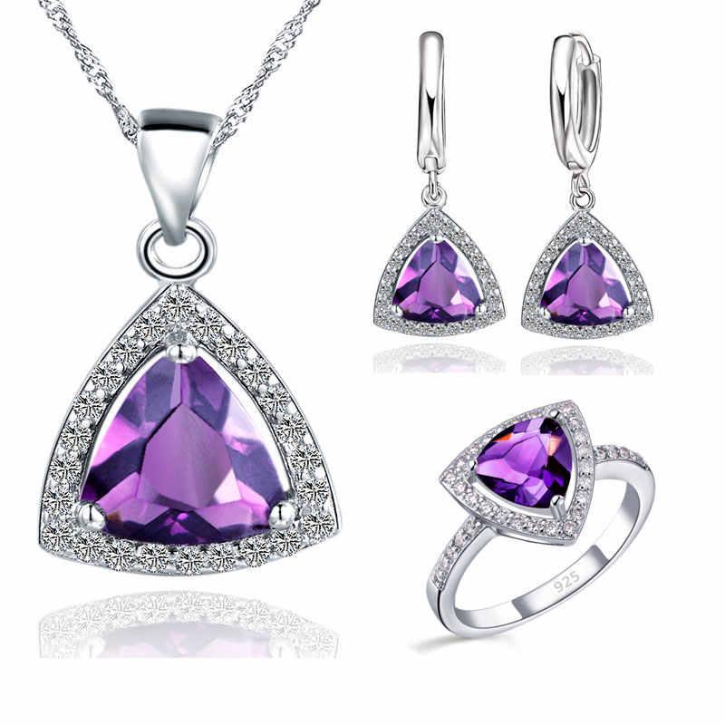 Nowy fioletowy trójkąt cyrkonia 925 srebro zestawy biżuterii kolczyki wisiorek naszyjniki pierścienie dla Femme