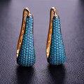 Moda Turquesa Jóias Brincos Do Parafuso Prisioneiro Para As Mulheres Banhado A Ouro de Cobre Brincos Pendientes Mujer Moda Natal Acessórios de Ouvido