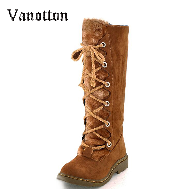 Lace-up Warm Fur Women Mid-calf Snow Boots Flat Heel Round Toe Long Winter Boots Cotton Flock Fashion Shoes nuckily men mid calf socks warm cotton made