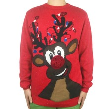 Washable Funny Light Up Ugly Christmas Sweater for Men and Women Cool Mens Knitted Xmas Reindeer Pullover Jumpers Plus Size plus size light up christmas ugly sweatshirt