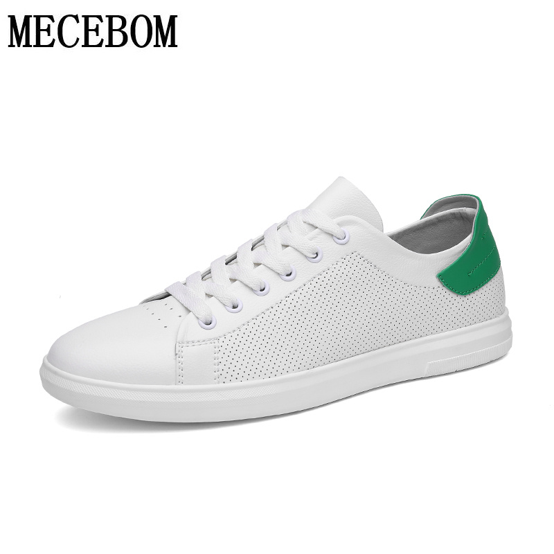 Men's shoes leisure leather shoes holes breathable men casual shoes lace-up white green footwears size 39-44 a55 women s casual breathable lace up floral pattern canvas shoes green yellow white eur size 39