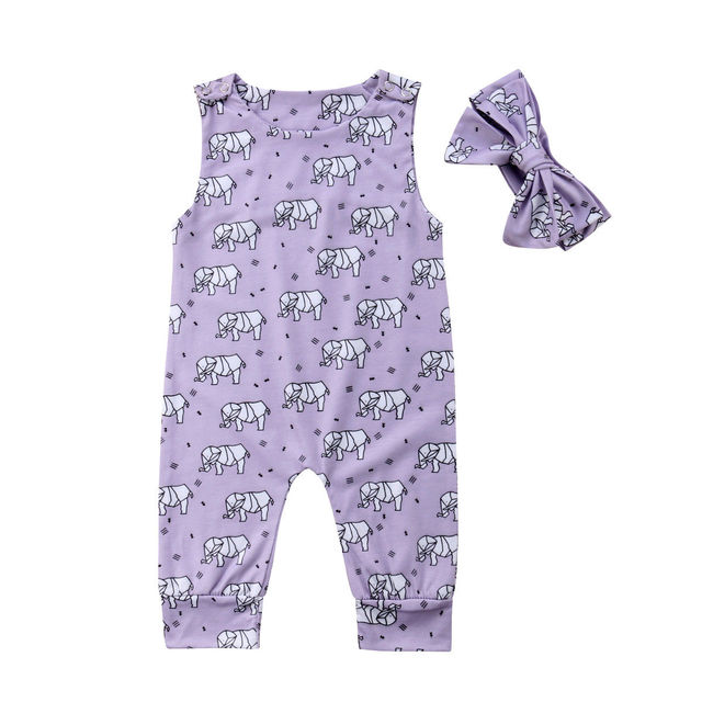 39f6c30064b0 0-3Y Baby Girl 2018 Kids Elephant Purple Summer Romper Jumpsuit Long Pants 2Pcs  Set