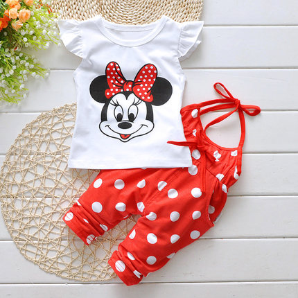 Outfit Baby Girl Clothes Summer Fly Sleeve Tops Polka Dot Overalls