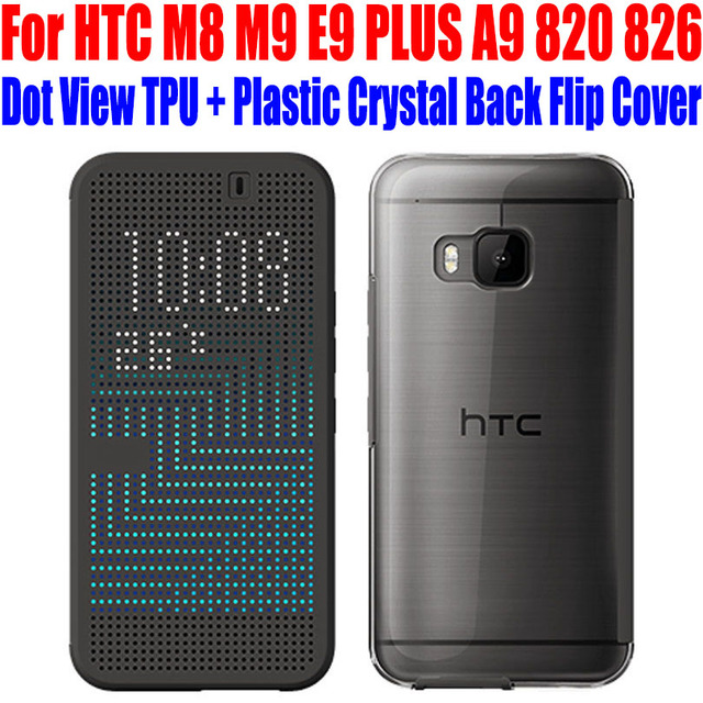 new style 79879 c08c3 US $8.72 |Case for HTC One M8 M9 E9 PLUS A9 Official Original Smart Dot  View Case Call ID TPU +Plastic Crystal Back Flip Cover HA2-in Flip Cases  from ...