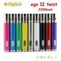 GS Ego II Giro batería 2200 mah GS EGO ecigarette fibra de carbono 2 batería batería vv ego 3.3 V-4.8 V ego giro con anillo de decoración