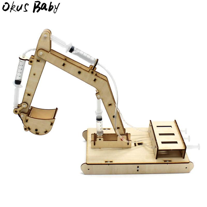 Le plus récent bricolage 4 canaux pelle hydraulique Kit enfant Science école projet tige éducation physique Fun jouets technologie expérience