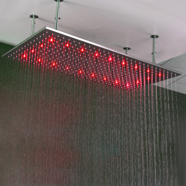 Big Shower Head Rainfall Ceiling Rain Shower SUS304 500*1000mm Water Power Showerheads With douchestang LED-Lighting Showers