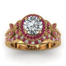 Мода Бабочка Круглый Cut Красный Белый Циркон Роуз Золото Цвет Женщины Обручальное кольцо Установить ювелирные изделия