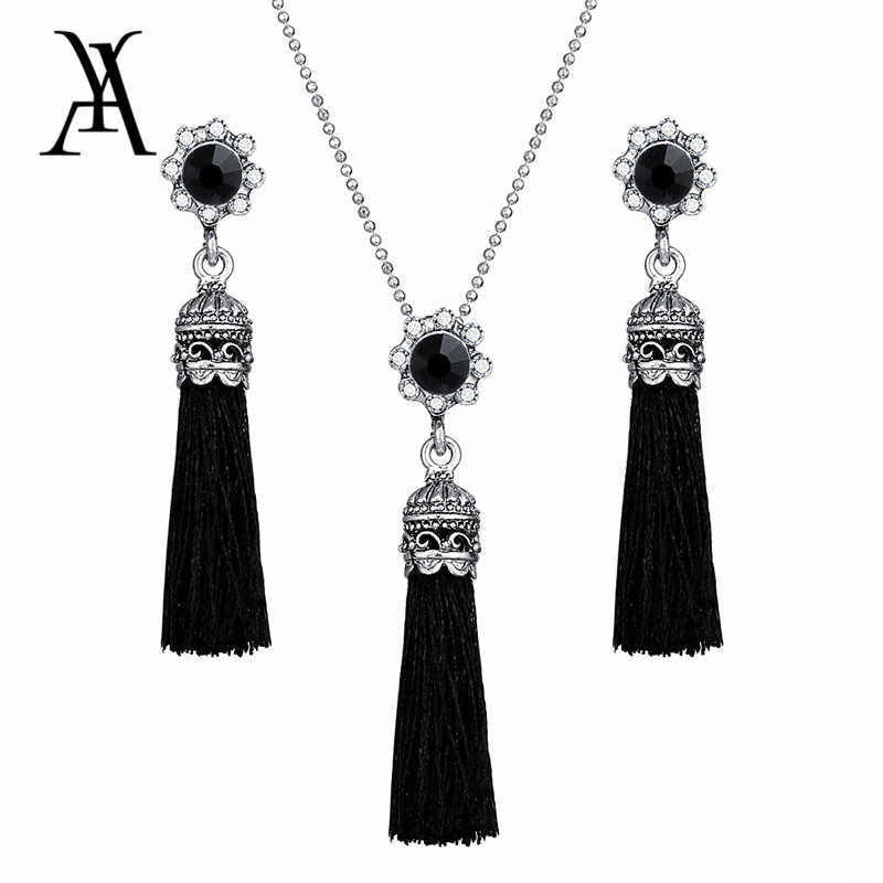 AY Fashion Tassel Flower Drop Jewelry Set For Women Black Color Long Necklace Pendant Crystal Earrings Wedding Jewelry Gift