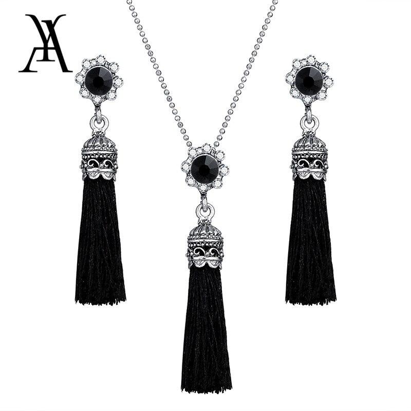Ay Fashion Tassel Flower Drop Jewelry Set For Women Black Color Long Necklace Pendant Crystal Earrings Wedding Jewelry Gift