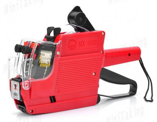 [ Fly Eagle ] MX-6600 Digits 2 Lines Price Tag Gun Labeler + Ink +  Rolls White Tags Red
