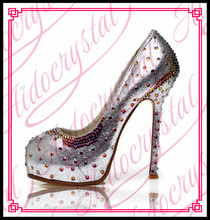 Aidocrystal Women Shoes 2016 princess style mix ab crystal heel rhinestone high heels noble dress shoes for ladies