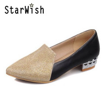 STARWISH 2017 Sexy Pointed Toe Glitter Casual Shoes Woman Low Thick Heel Pumps Plus Size 33-47 Sequin Cloth High Heels For Women