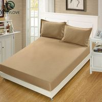 Solid Color Polyester Cotton Fitted Sheet Mattress Cover Bedding Linens Bed Sheets With Elastic Band