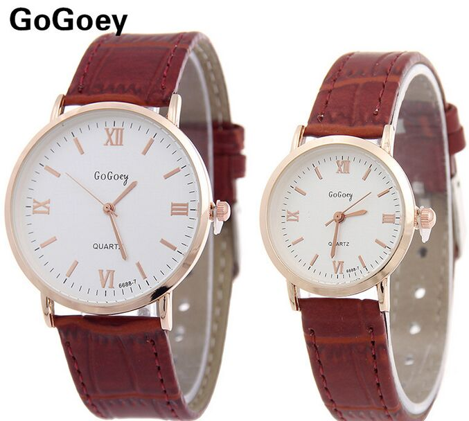Luxury Gogoey Brand Leather Pair Watches Women Men Unisex Casual Dress Quartz Wristwatches Relogio Feminino 6688-7