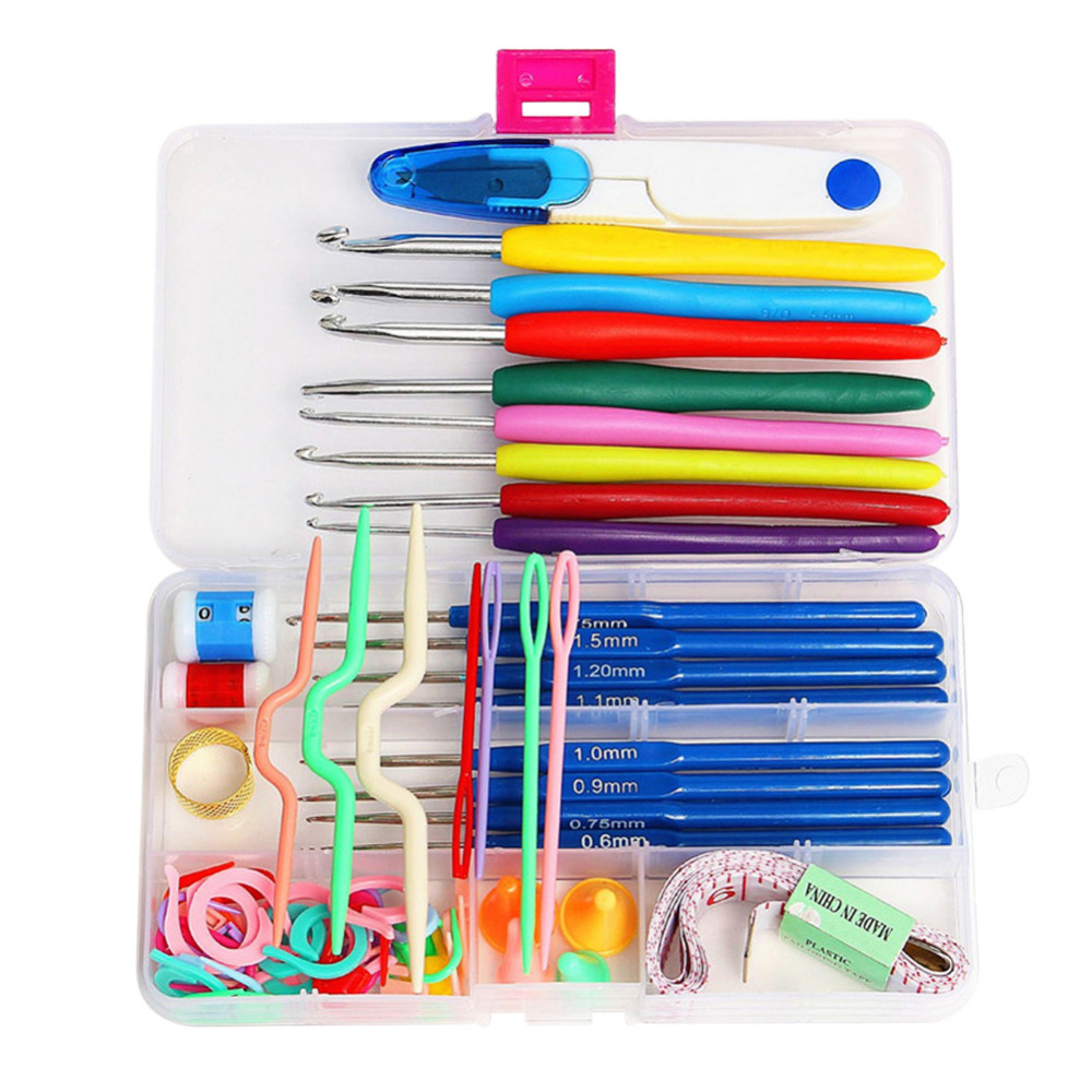 16pcs Crochet Hook Set Sewing Tools Knitting Needles Stitches Knit Weave Yarn Hook Craft Tools Accessories with Case Box
