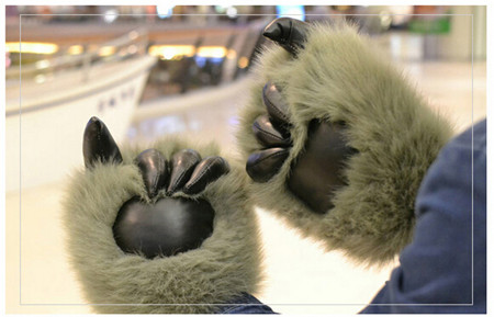 1 pair=2pcs plush bear claw gloves,animal bear paw shape cute funny Christmas gift lovely plush toys warm cool for friends kids cute bear paw plush gloves winter warm thermal children knitted gloves full finger mittens cartoon gloves