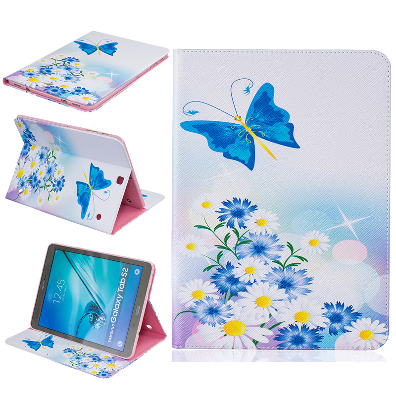 Hot Pattern Blue Butterfly Card Slot Wallet PU Leather Stand Flip Case Cover for Samsung Galaxy Tab S2 9.7 T810 T815 Tablet keymao luxury flip leather case for samsung galaxy s7 edge