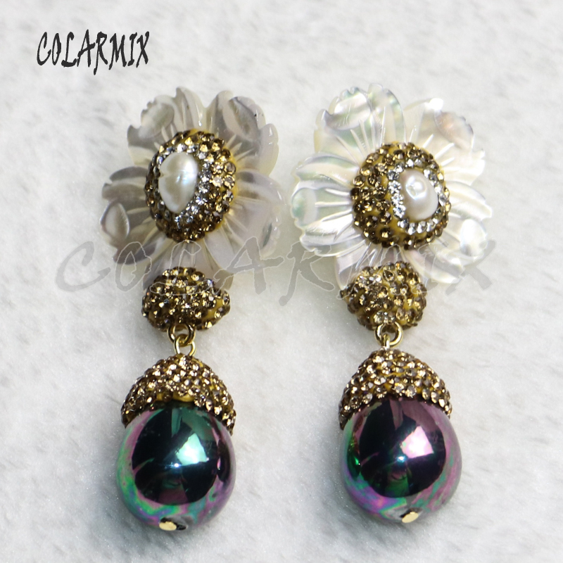 3 pair shell flowers earrings with shell beads mix colors shell beads earring elegant trendy jewelry for women gift jewelry 9215-in Drop Earrings from Jewelry & Accessories    2