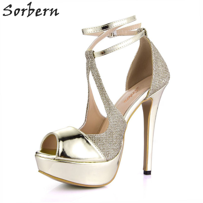 Sorbern Sexy Gold Platform Women Pump Shoes Evening Party Shoes 14Cm Stilettos Peep Toe Sky High Heels Pumps Wedding Ladies Heel new arrival women sky blue high heel slip on sexy stilettos white cloud decoration cute bride shoes wedding women stilettos pump