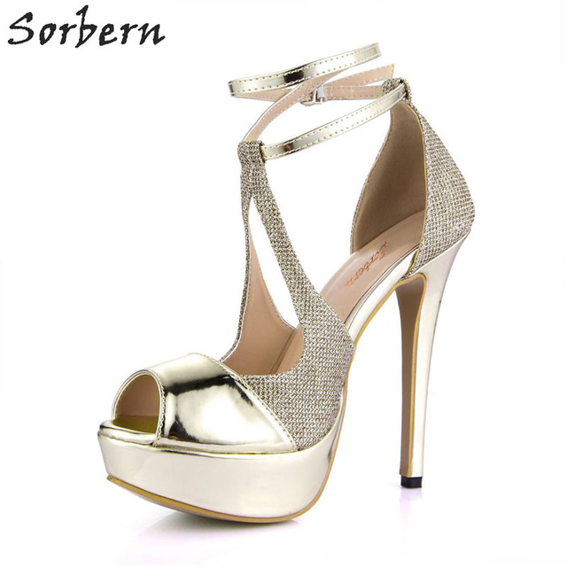 fcadbeb558fd0 Sorbern Sexy Gold Platform Women Pump Shoes Evening Party Shoes 14Cm  Stilettos Peep Toe Sky High Heels Pumps Wedding Ladies Heel