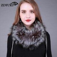 ZDFURS * 100% real fox fur scarf winter women silver fox fur scarf real fur round towel fur infinite scarf for women