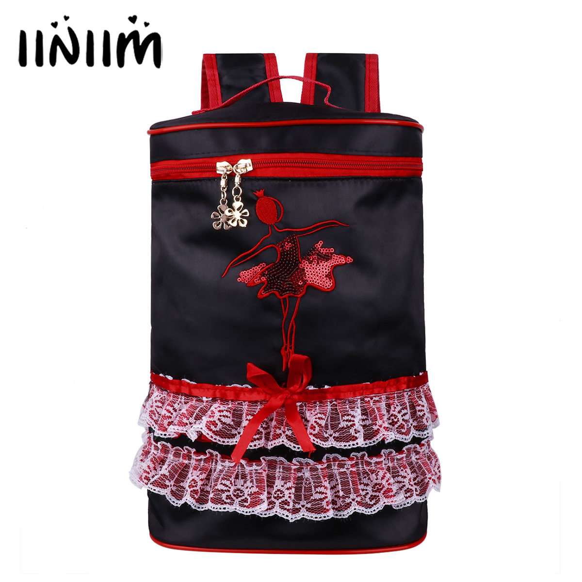Pretty Girls Dancing Bag Adorable Ballet Dance Bag Kids Embroidered Princess Ballerina Costumes Tiered Ruffled Tutu Bag Backpack