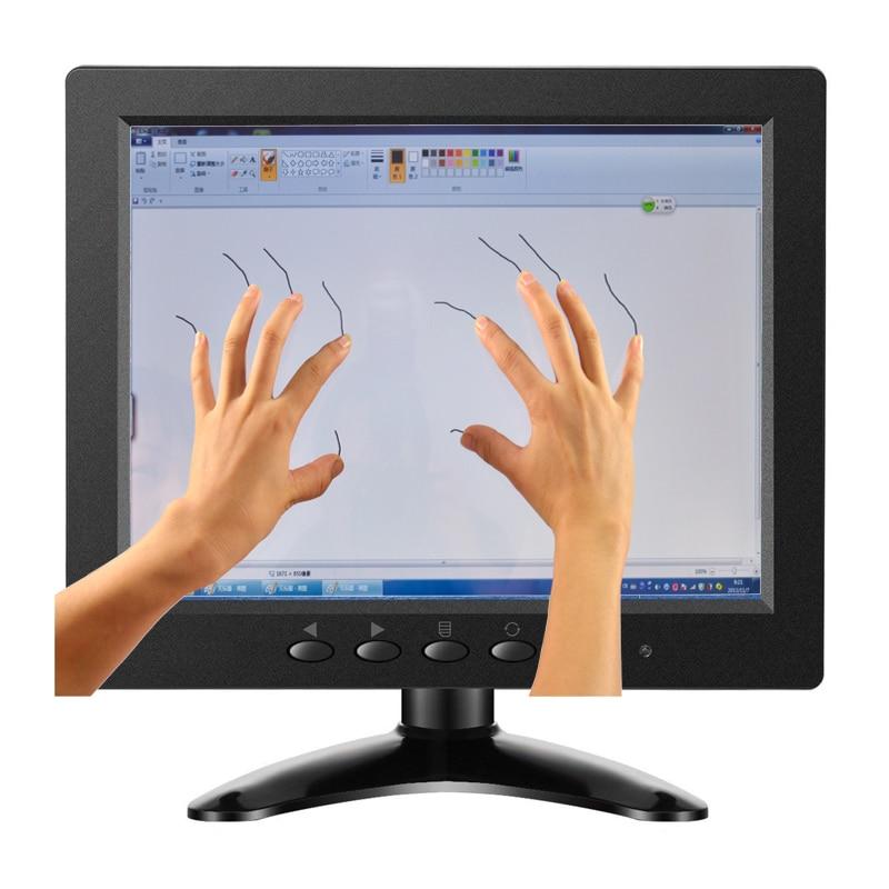 ZHIXIANDA 8 zoll kleinen touch-monitor bildschirm 1024*768 kapazitiven touch screen-monitor mit 10 punkte touch AV/ BNC/VGA/HDMI/USB