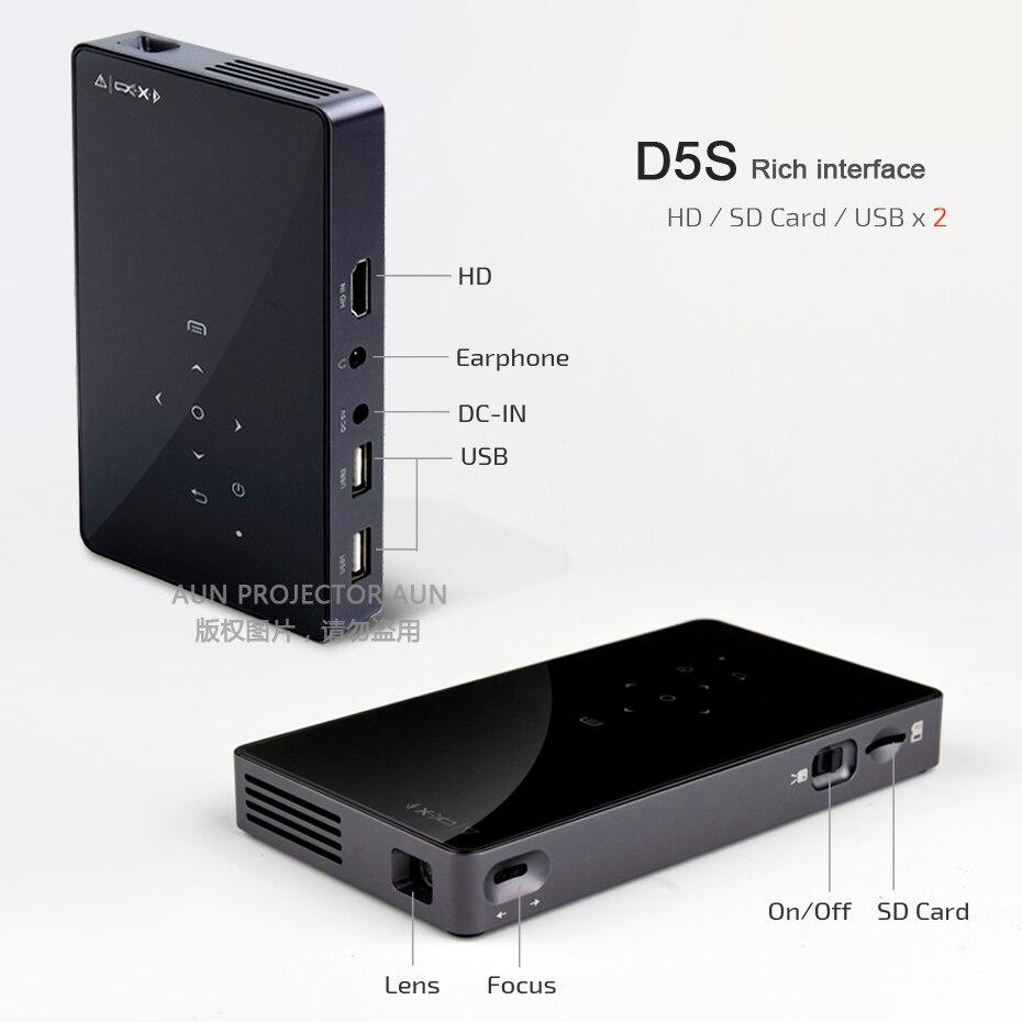 AUN MINI projecteur D5S, Android 7.1 (facultatif 2G + 32G) WIFI, batterie 5000 mAH, projecteur à LED portable pour vidéo 1080 P, projecteur 3D - 6