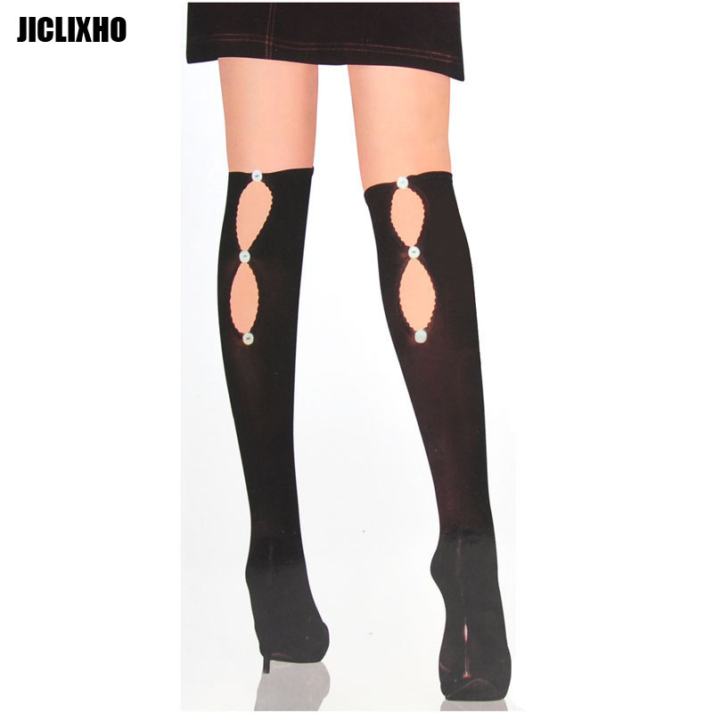 Women's Sexy black Thigh High Stockings sheer Stockings Hosiery over knee Stockings lingerie hollow out Button decoration