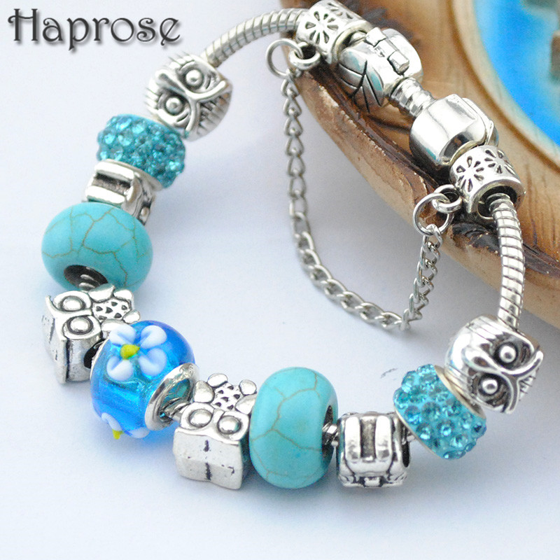 Newest Design BLUE owl Charms Bracelets & Bangles Green Murano Glass Beads High Quality DIY Bracelets For Woman Pulsera Gift