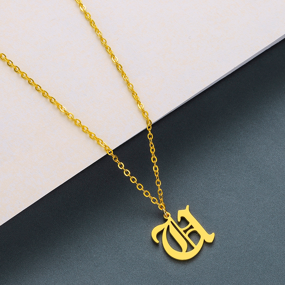 Todorova Old English Custom Capital Initial A-Z Letter Pendant Necklace Men Vintage Font Personalized Necklace Women Jewelry 62