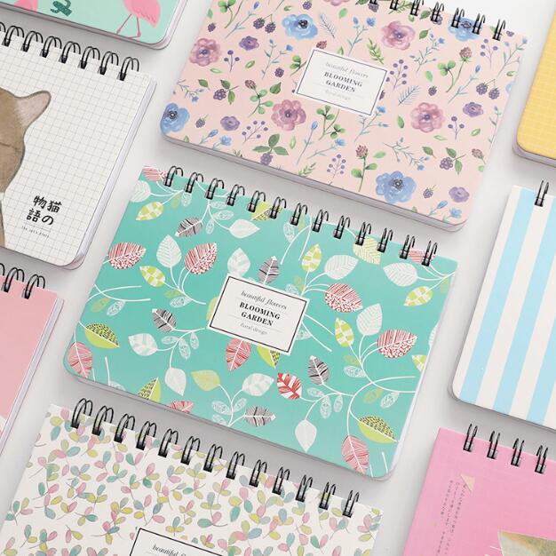 1 Piece Korean Flower Coil Weekly Planner Spiral Notebook Dairy Memo Sketch Book To Do It Notepads School Notebook Birthday Gift