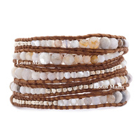 pearl shell leather bracelet brown ecru birthday african opal