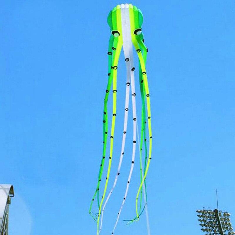 Livraison gratuite haute qualité doux cerf-volant émeraude pieuvre cerf-volant bobine marche dans le ciel parafoil cerf-volant nylon lignes volantes ripstop nylon tissu